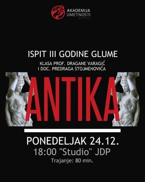 Ispitna predstava treće godine glume danas na Sceni Studio u JDP-u 18