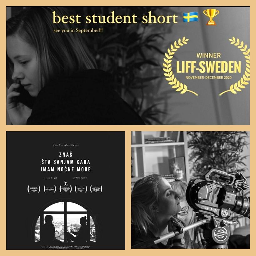 NAGRADA ZA NAJBOLJI STUDENTSKI FILM AGLAJI FILIPOVIĆ NA FESTIVALU U ŠVEDSKOJ