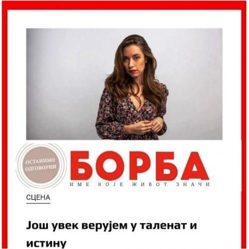 """MILENA BOŽIĆ, DIPL. GLUMICA AKADEMIJE O IGRANJU I PLANOVIMA U INTERVJUU """"BORBI"""""""
